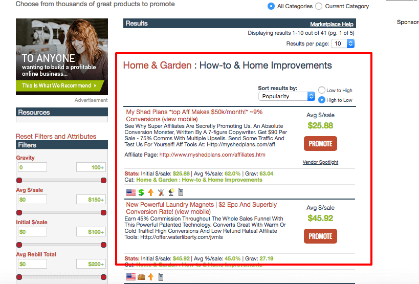 ClickBank home and how to products